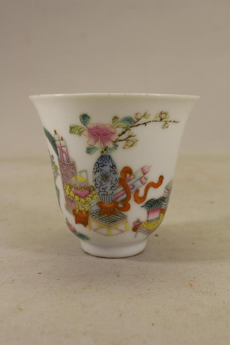 "Chinese Export ""Hundred Antiques"" Cup, Signed"