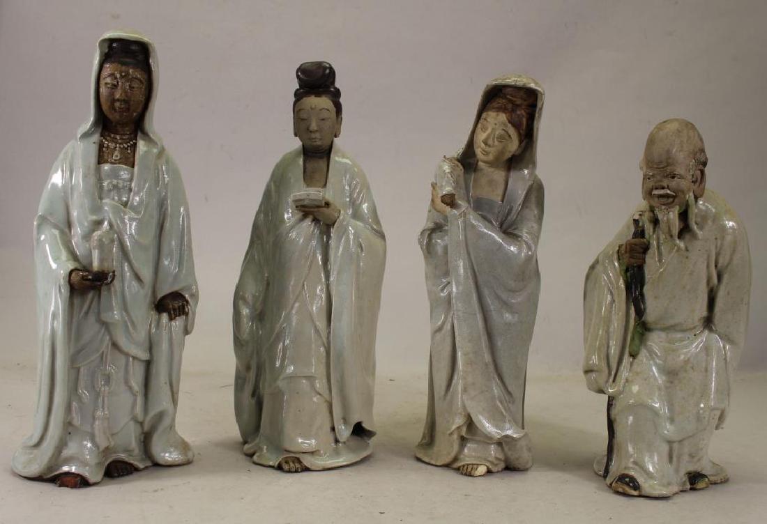 (4) Antique Chinese Glazed Pottery Deity Figures