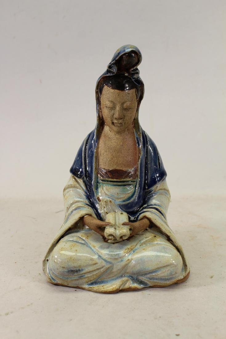 Antique Chinese Glazed Figure Holding Scroll