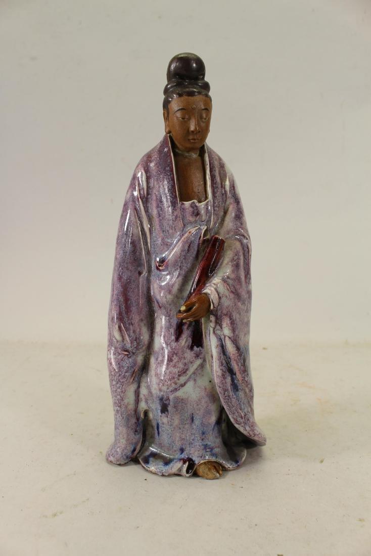 Signed Antique Chinese Glazed Pottery Deity Figure