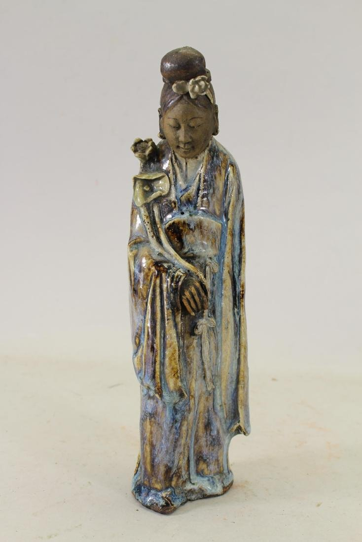 Antique Chinese Glazed Pottery Deity Figurine
