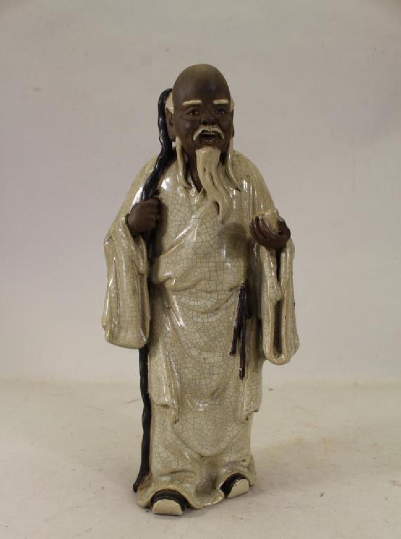 Signed, Chinese Glazed Pottery Shou Lao Figure