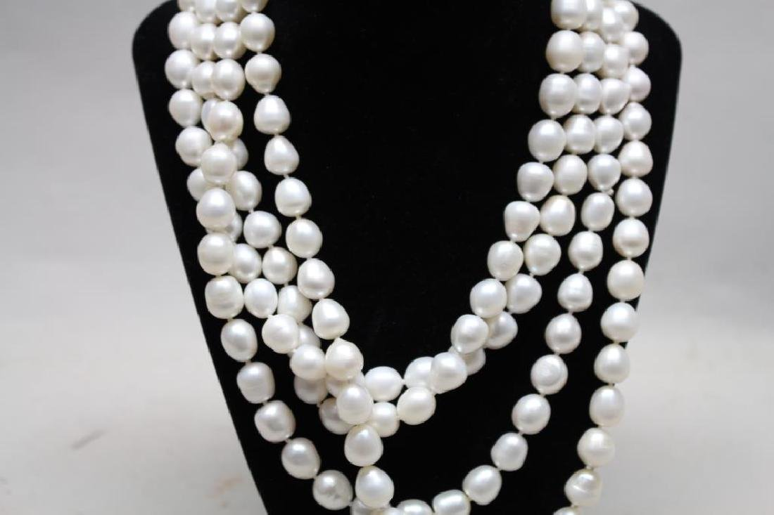 Long Strand Necklace of Cultured Pearls - 2