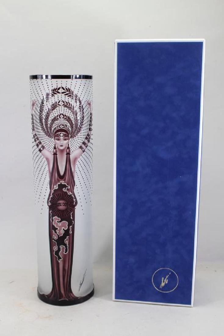 "ERTE ""DIANA"" ENCASED GLASS ART DECO VASE"