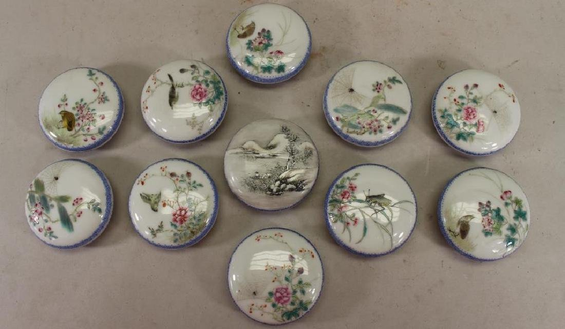 (11) Signed Chinese Porcelain Wax Seal Containers