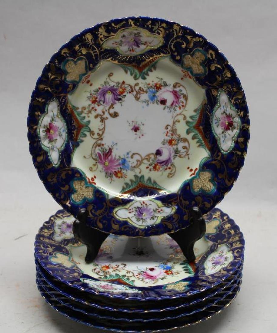 (5) Unmarked Floral Motif Painted Porcelain Dishes