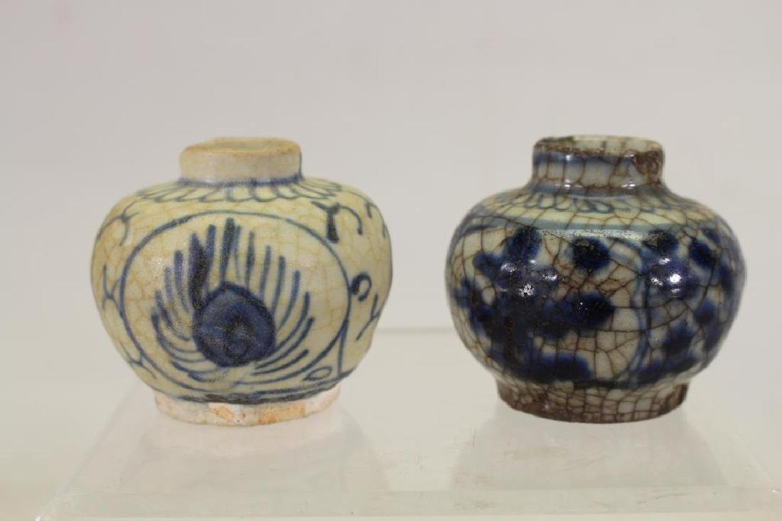 (2) Early Antique Chinese Blue/White Ink Jars