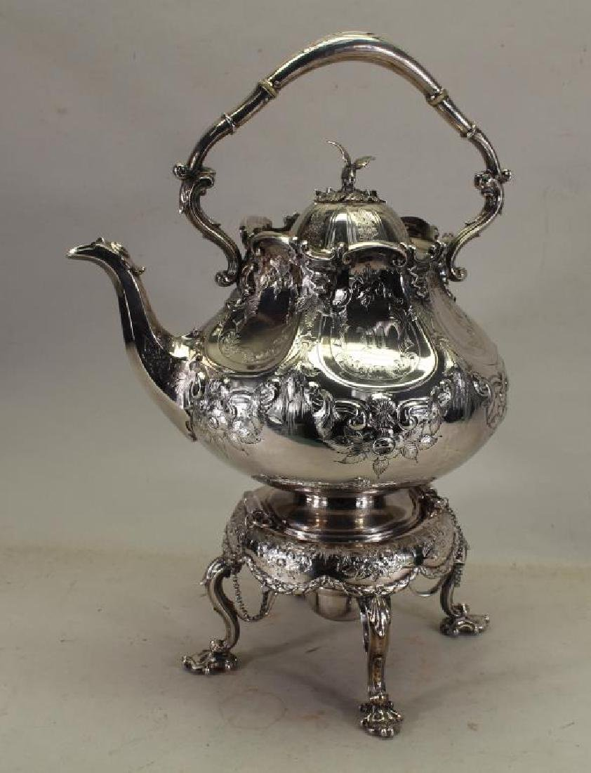 Antique English Silver Plate Kettle on Stand