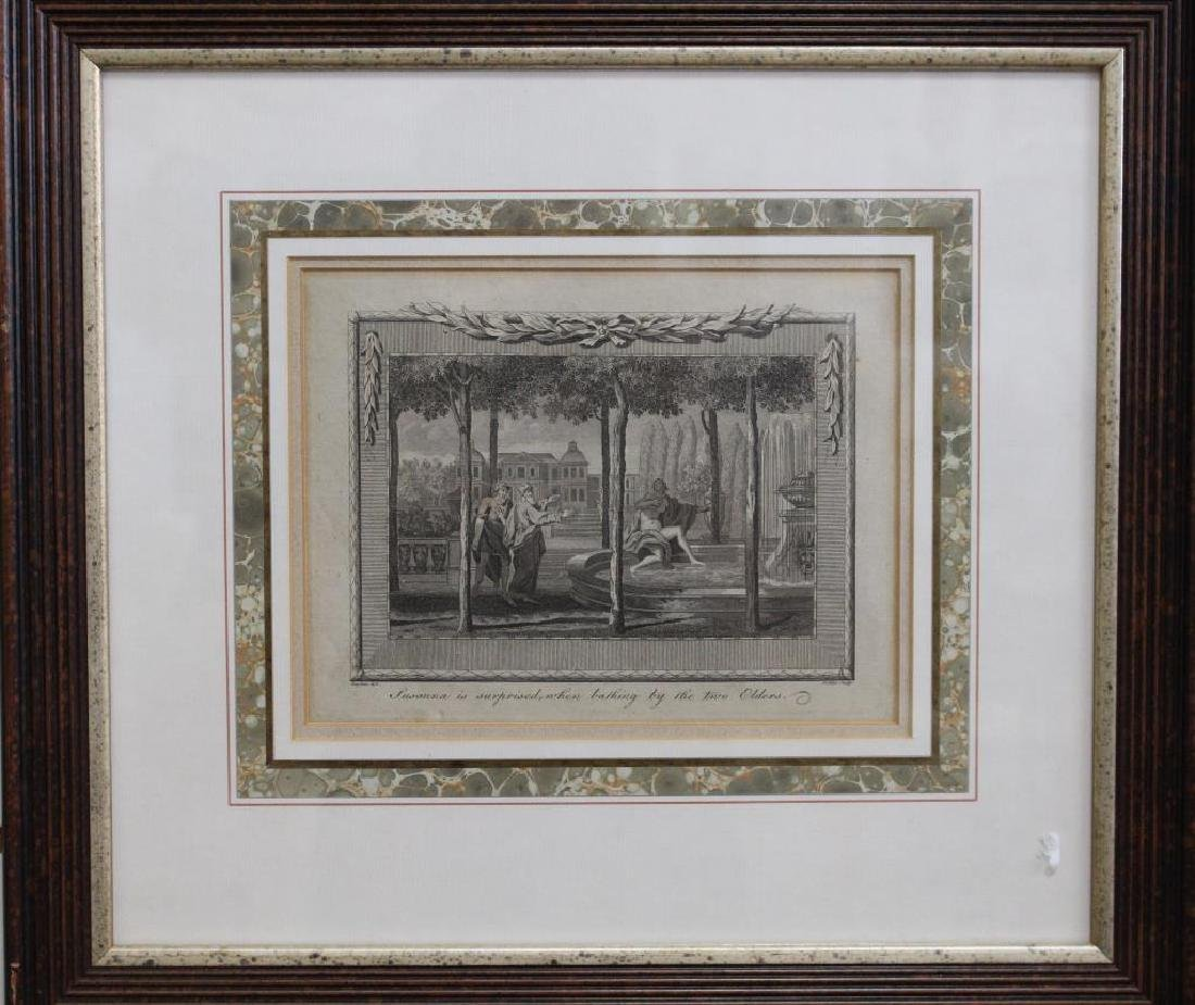 Antique Framed Engraving of Susanna Bathing
