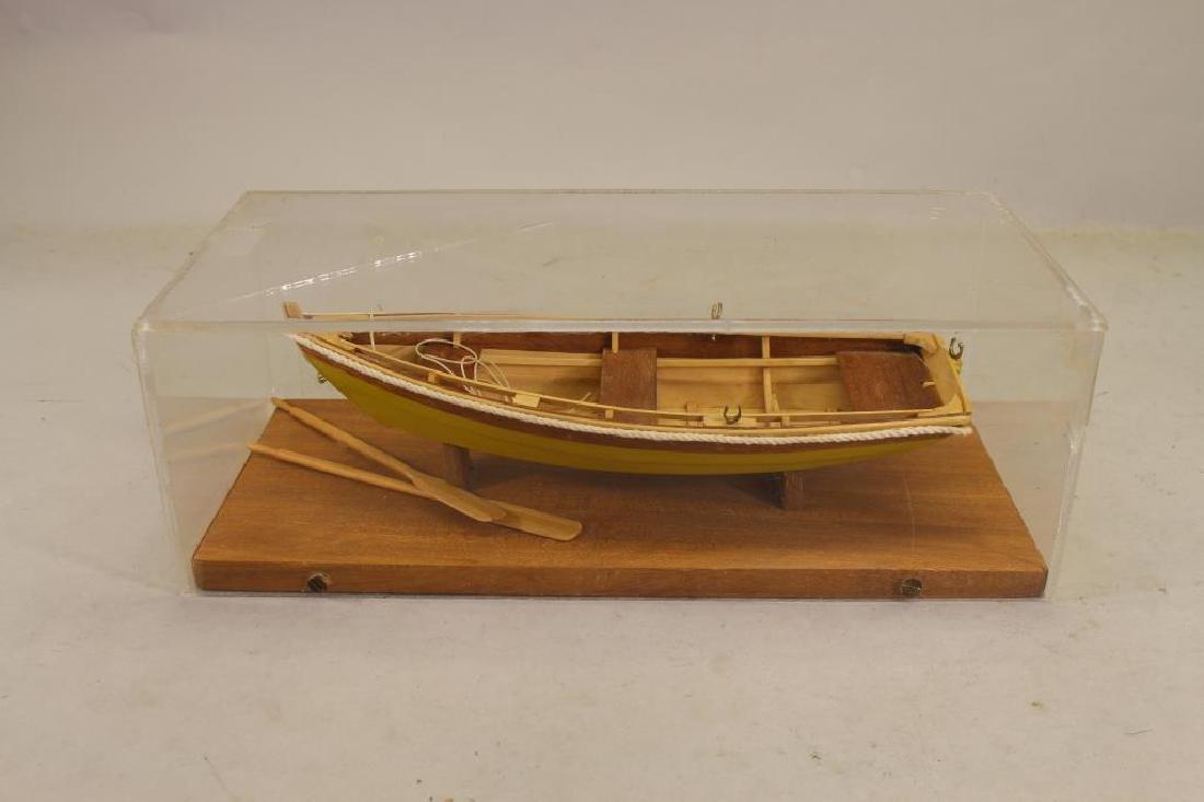 Wooden Skiff Model in Plexiglass Case