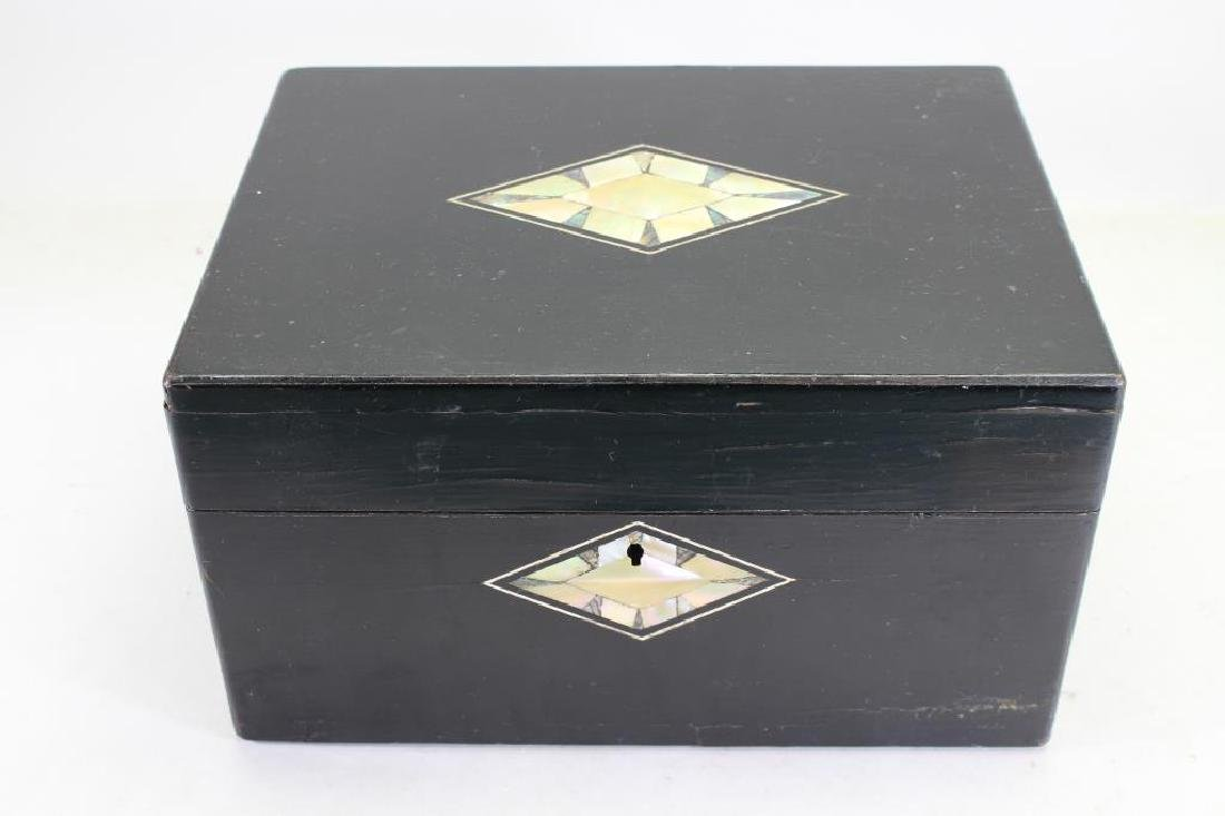 Black Lacquer & Mother of Pearl Inlay Jewelry Box