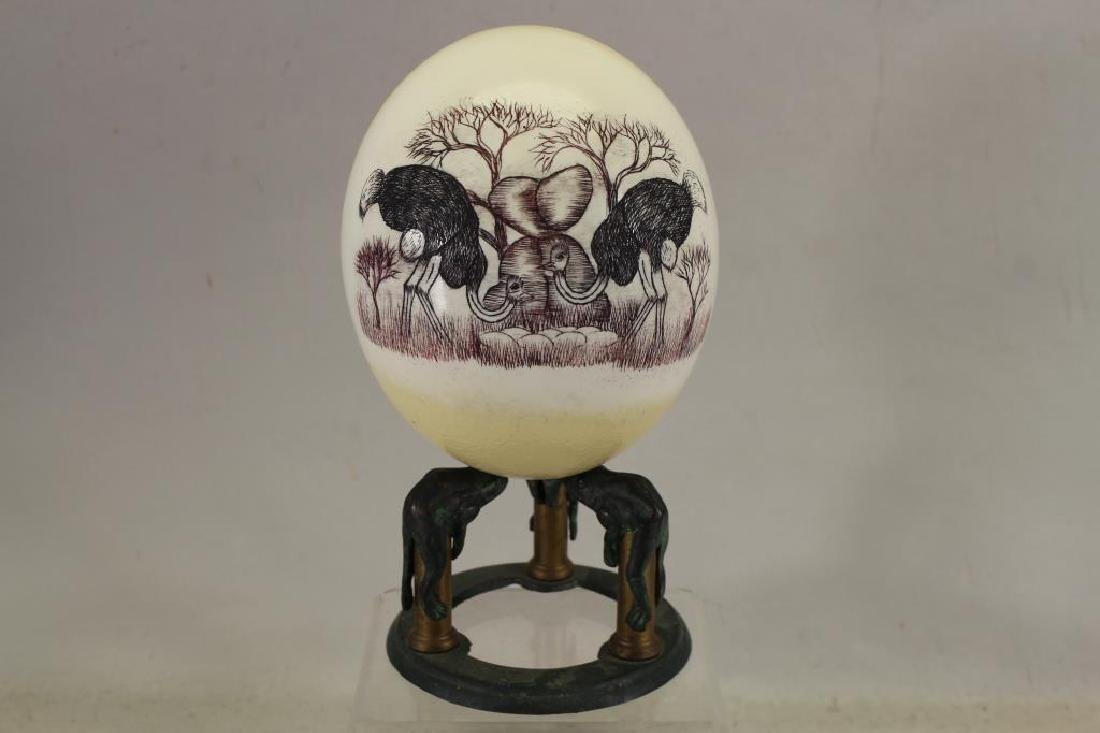 Ostrich Egg Scrimshaw Carving on Bronze Frog Stand