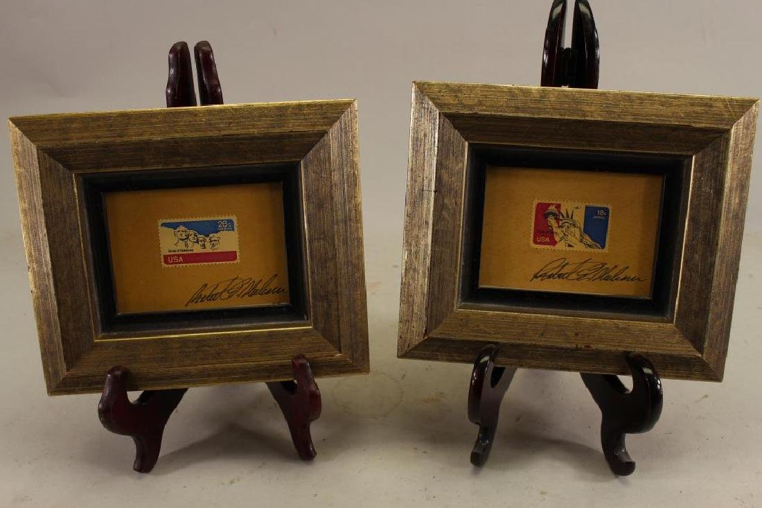 (2) Robert Sherhorn, Framed Stamps