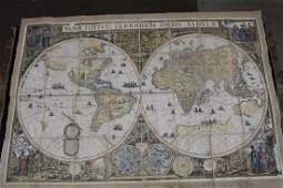20th C Colored World Map on Linen