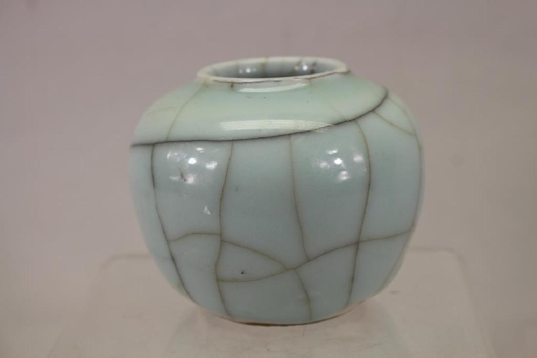 Chinese Crackle Style Ceramic Ovoid Form Jar