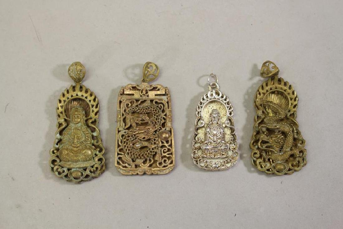 (4) Figural Chinese Mixed Metal Pendants
