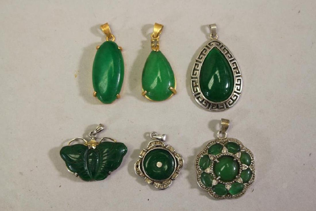(6) Green Mixed Stone Pendants