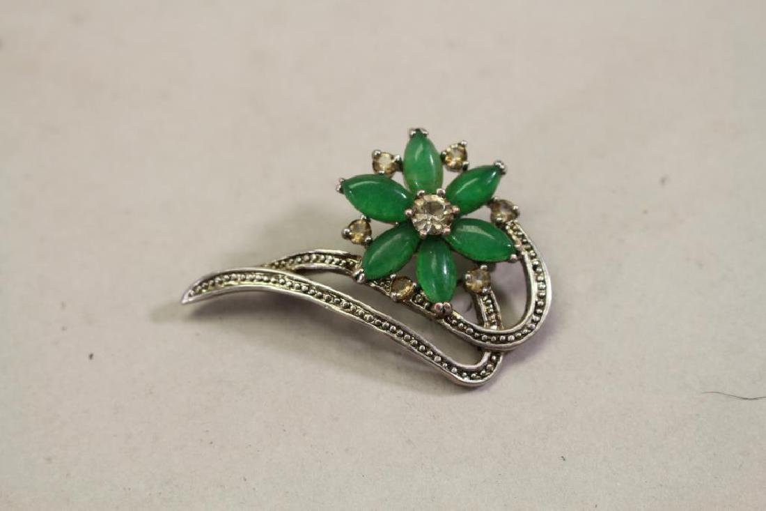 Floral Brooch with Green Stone Inset
