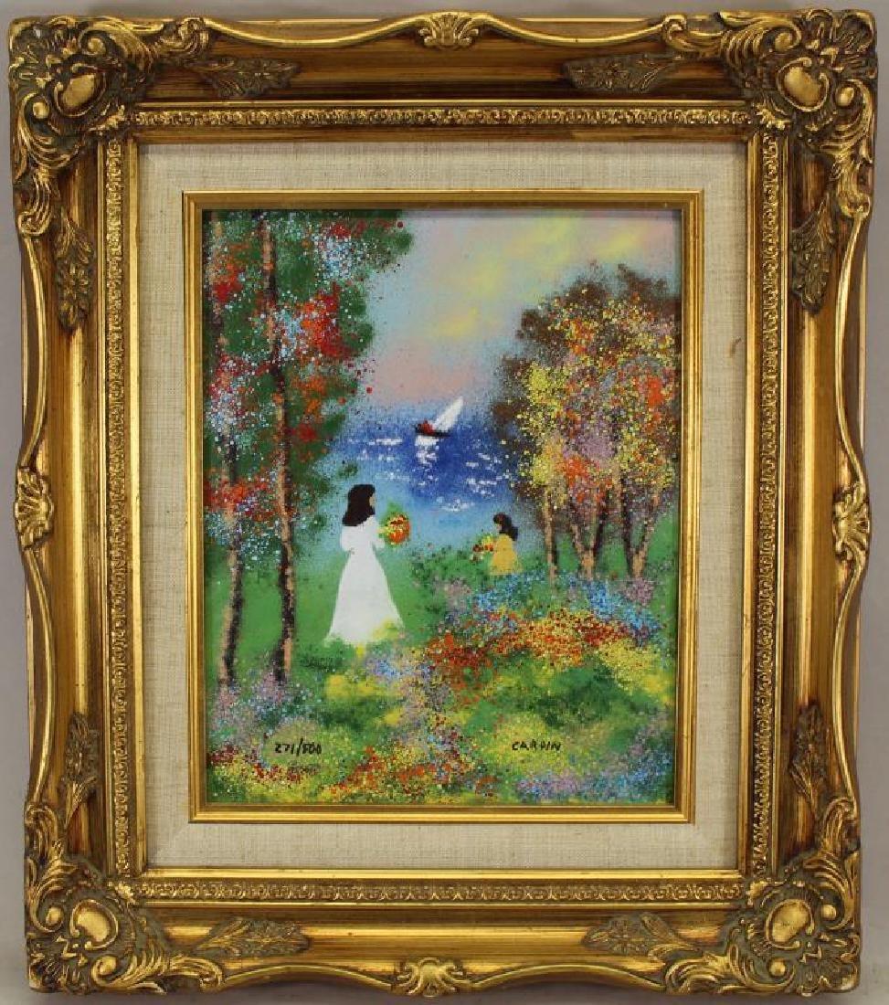 Cardin 271/500 Framed Coastal Scene with Figures