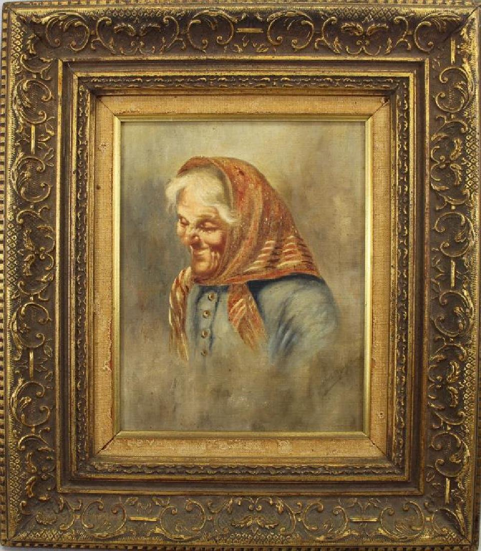 Antique Portrait of Elderly Woman, Signed