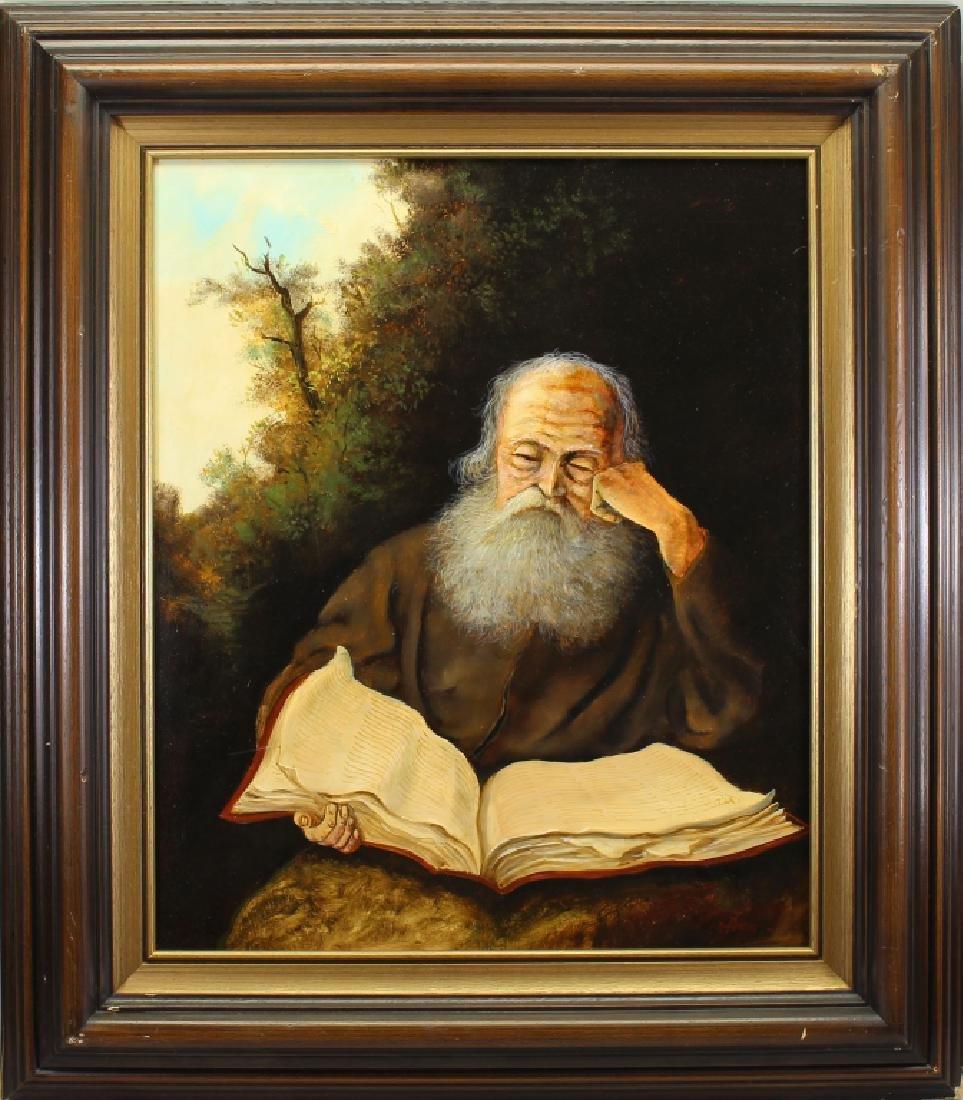 Early 20th C. Elderly Man Reading
