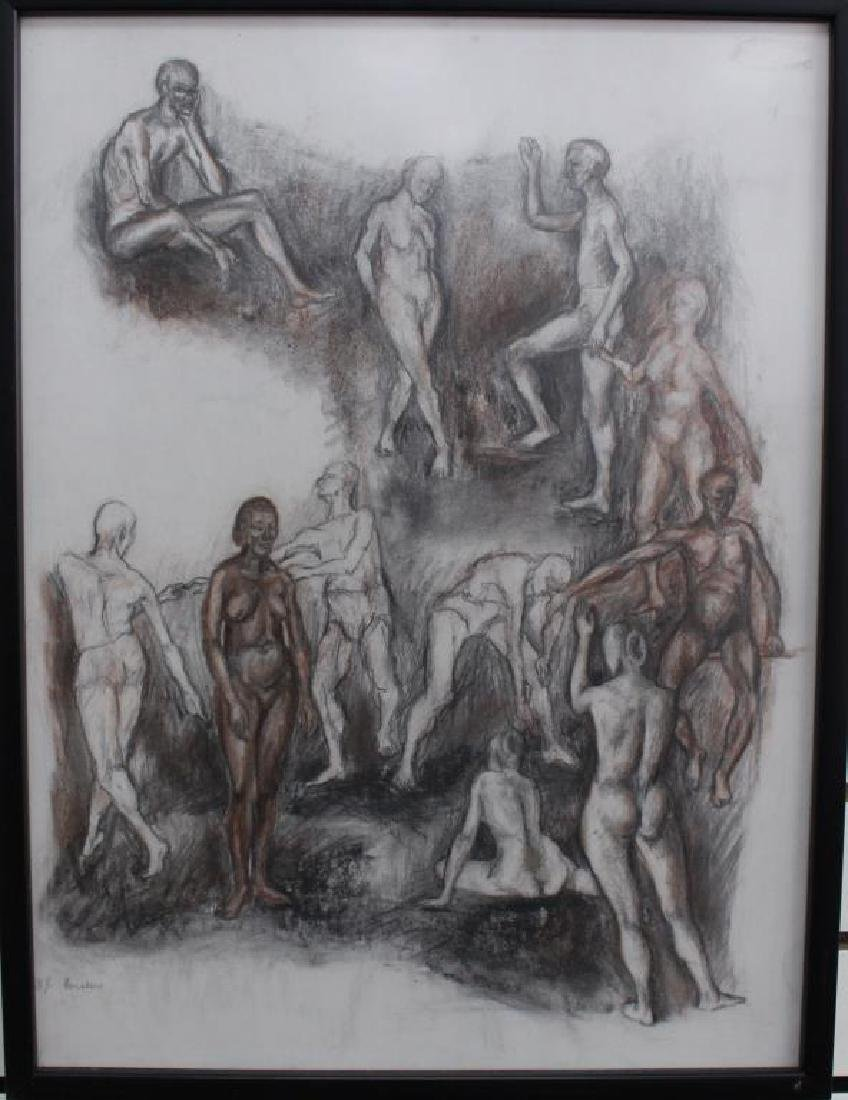 Signed, 20th Century Drawing of Nude Figures