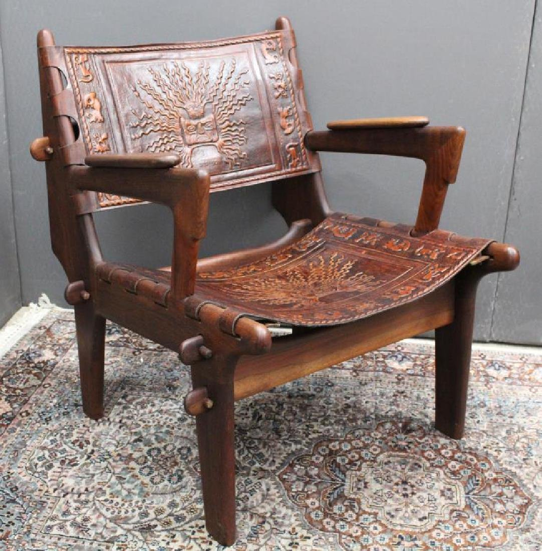 Ecuadorian Ornately Designed Leather/Wooden Chair