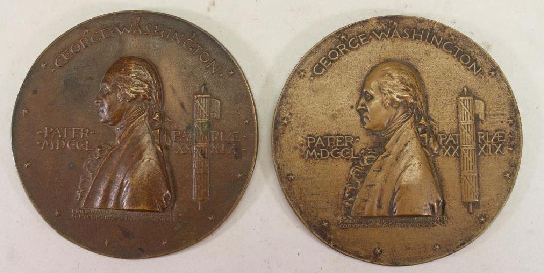 (2) Bronze George Washington Commemorative Plaques