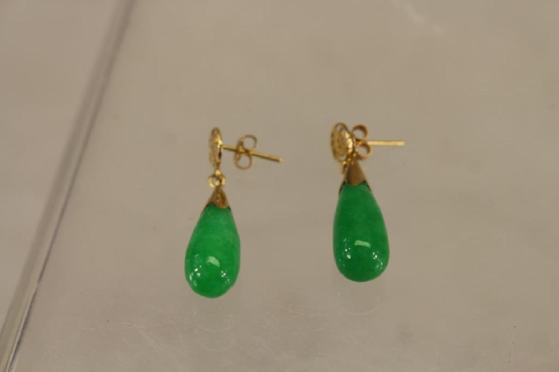 Pair of Jadeite Tear Drop Earrings
