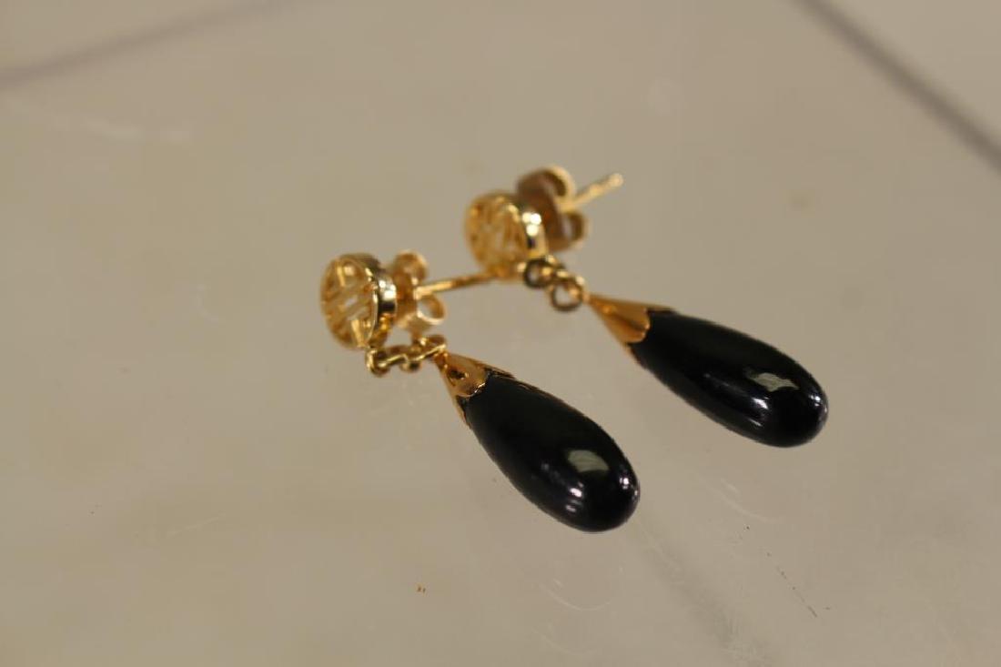 Black Jade/Gold Earrings