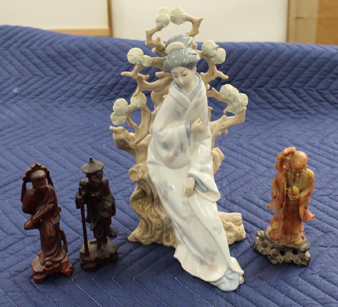 (4) Figures. Lladro & 3 Asian Figures