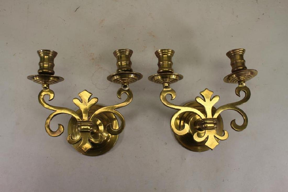 Pair of Vintage Brass Two-Arm Sconces