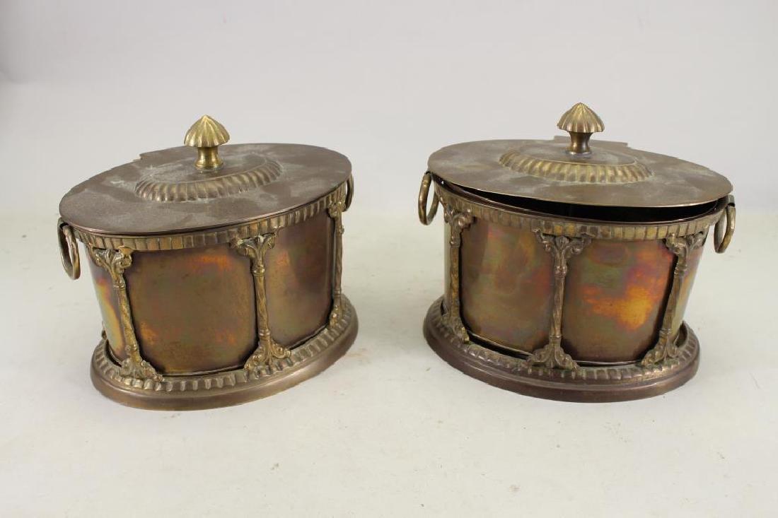 (2) Vintage Twin Handled Metal Boxes