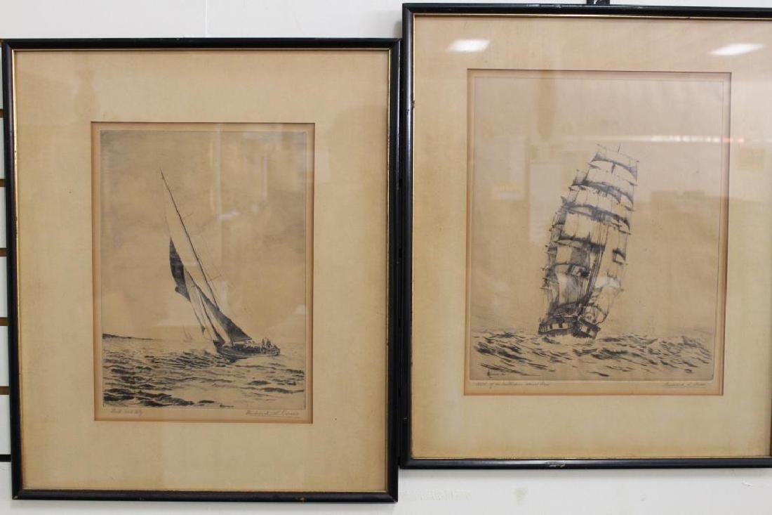 (2) Framed Nautical Etchings, Signed