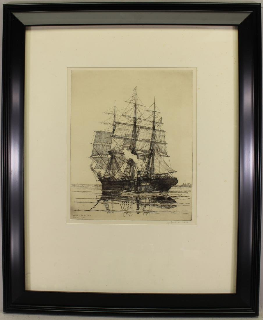 Framed Antique Etching of Salem, Signed
