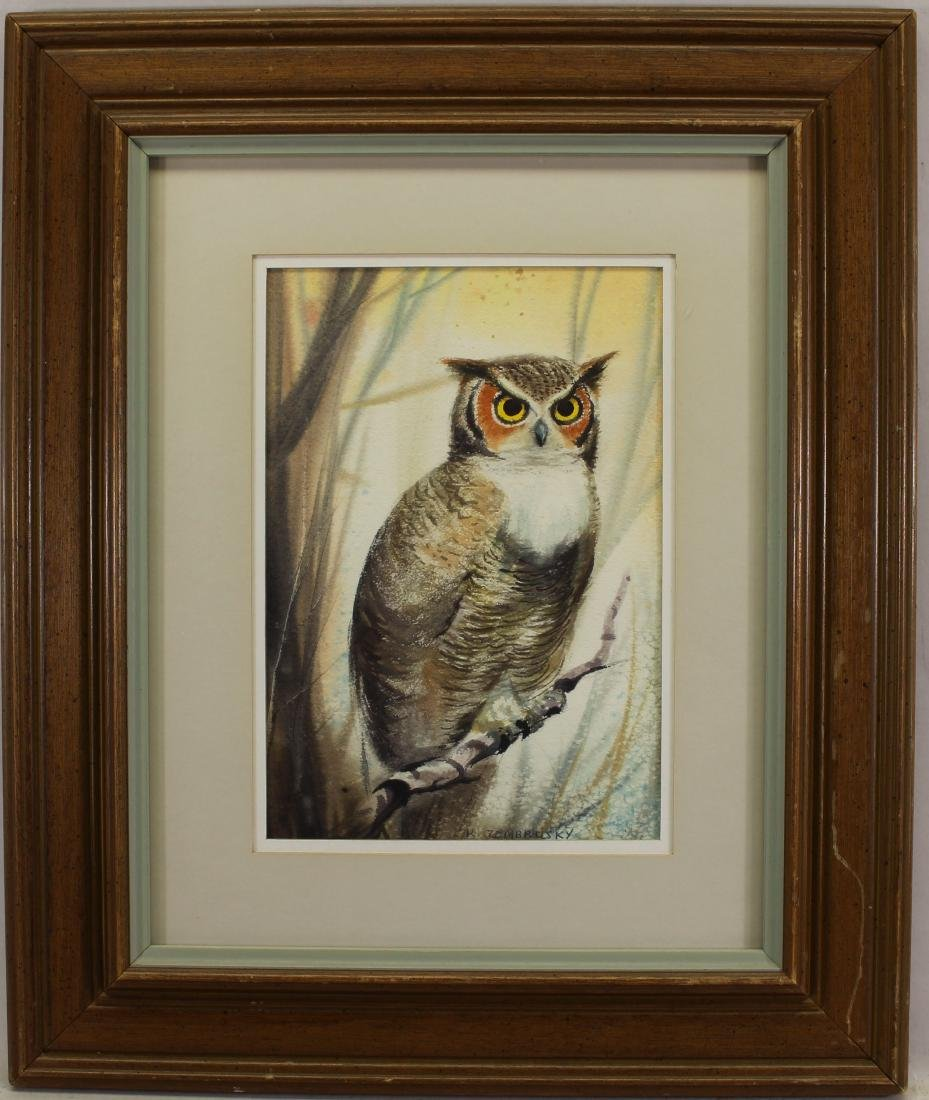 K. Zembrusky, Signed Watercolor of an Owl
