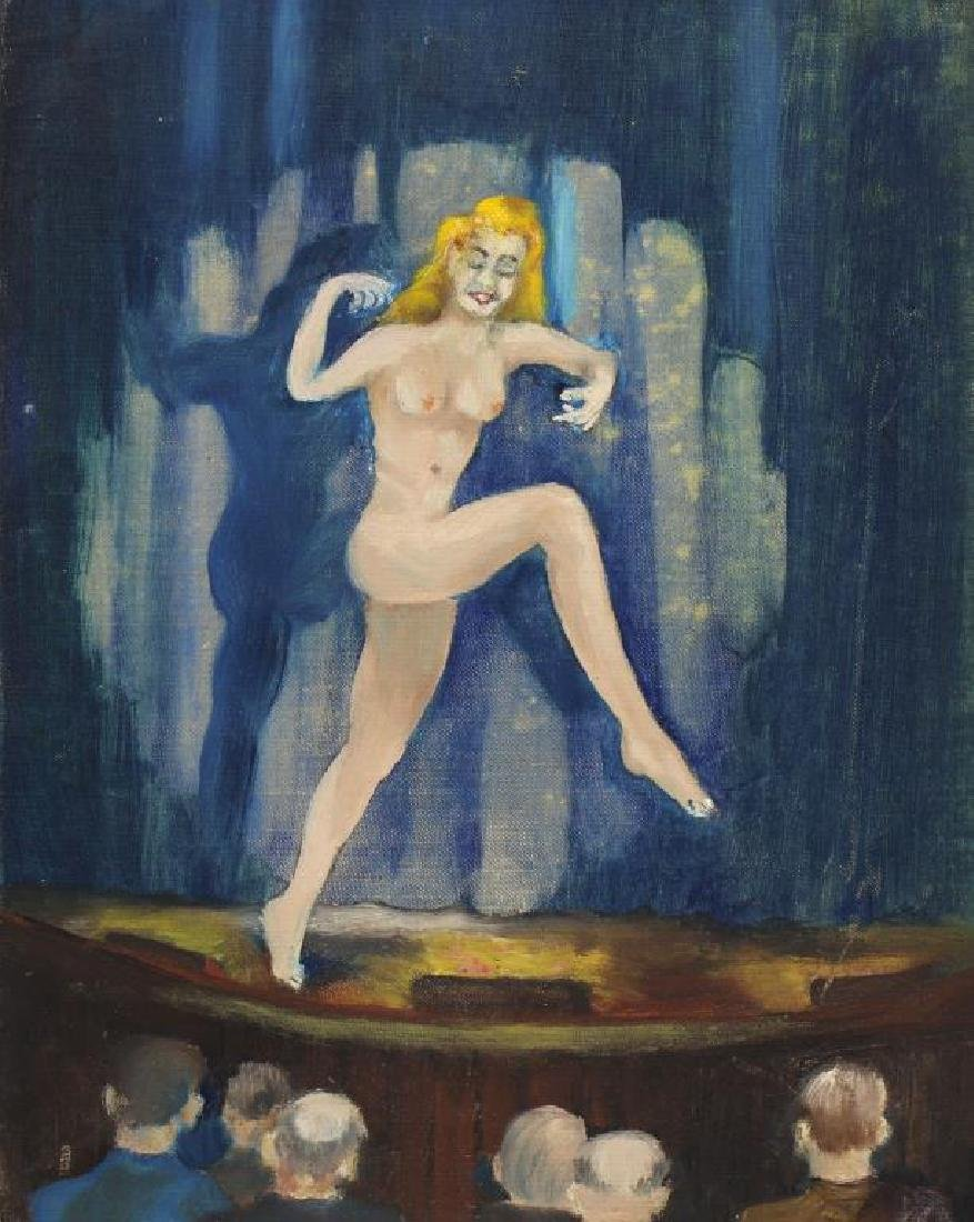 20th C. Painting of Burlesque Dancer on Stage