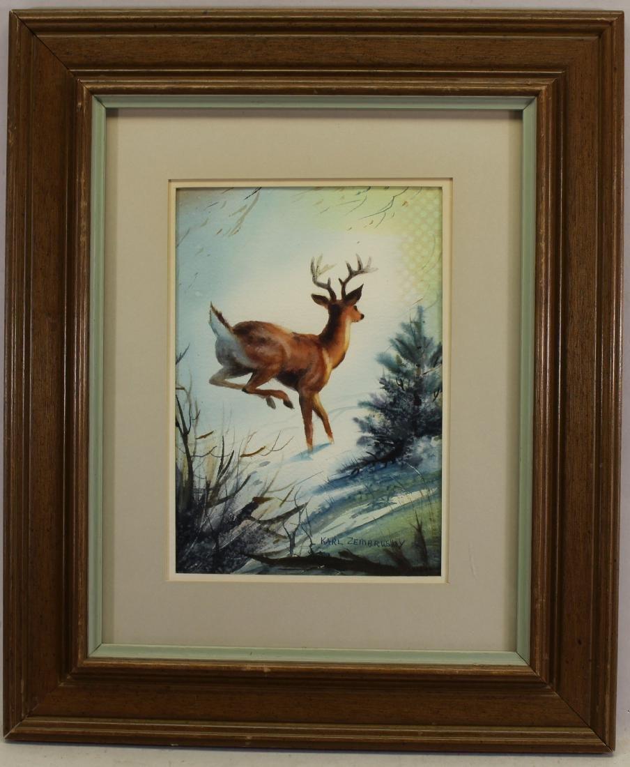Karl Zembrusky, Signed Watercolor of a Deer