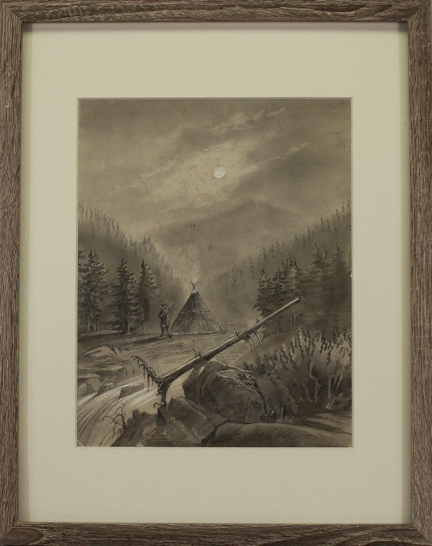 Antique Pencil Drawing of Western River Landscape
