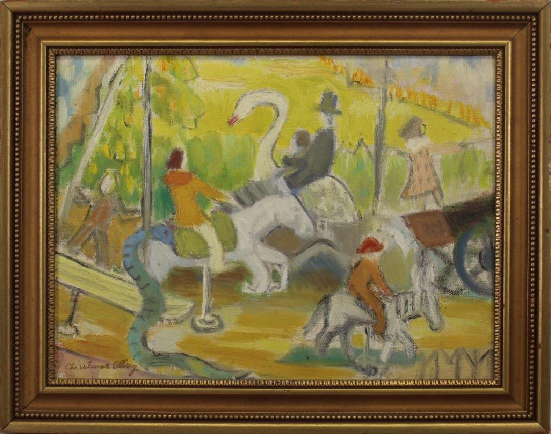 Signed, 20th C Painting of a Carousel