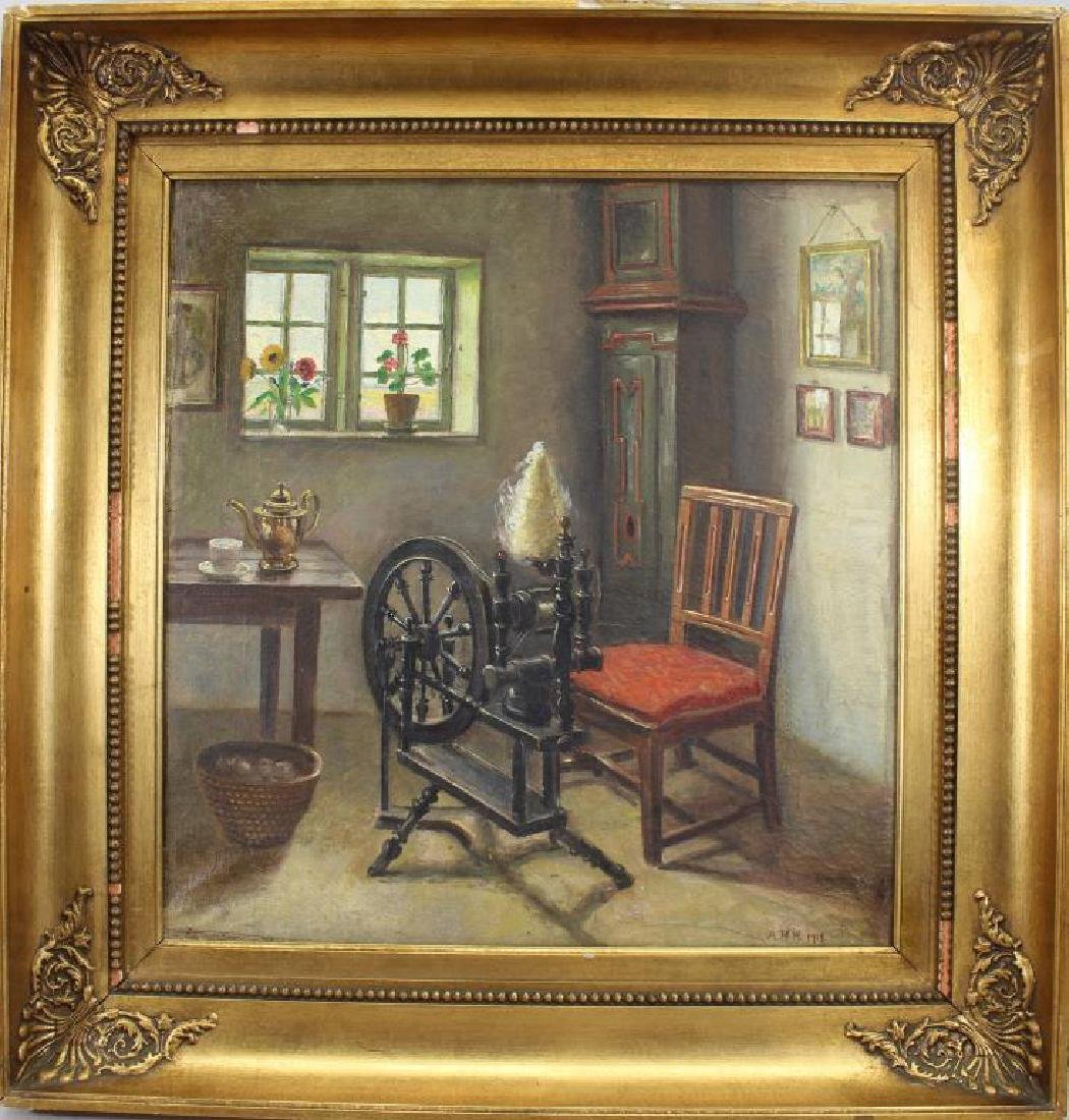 A.M.H. Signed 19th C, Interior Painting