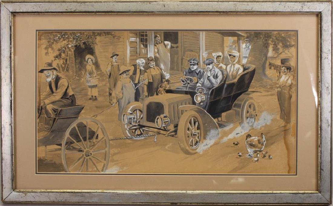 20th C Painting of Figures Near Broken Down Car
