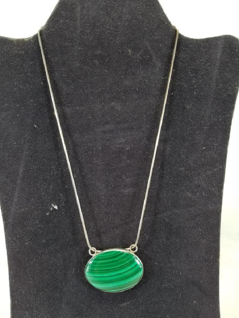 Sterling Necklace w/ Malachite Stone Pendant
