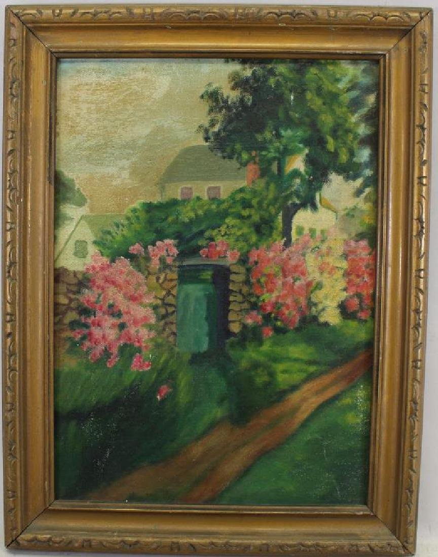 Vintage American School Painting of Flower Garden