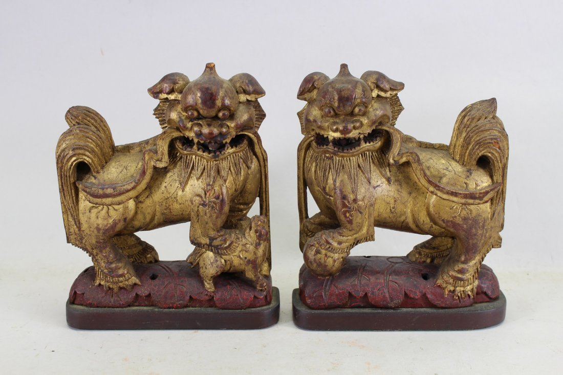 Antique Chinese Carved Gilt/Wood Foo Dogs