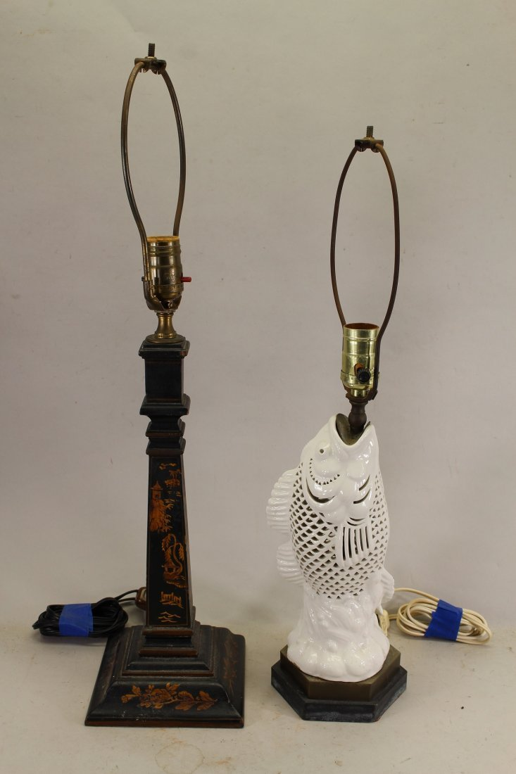 (2) Vintage Lamps, (One Chinoiserie & One Fish Form Lam