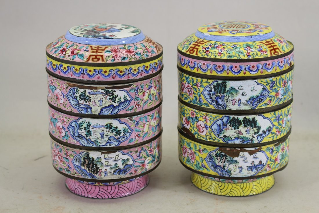 (2) Chinese Famille Rose Stacked Boxes.