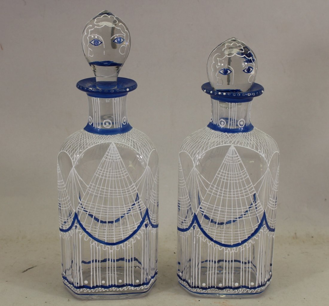 (2) Figural French Glass Decanters