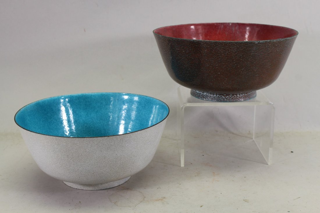 (2) Leonard Rankin Enameled Bowls, Signed on bottom