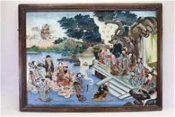Large Chinese Reverse Painted Glass Courtyard Scene